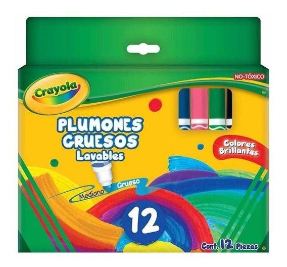 PLUMONES GRUESOS CRAYOLA LAVABLES 12 PZAS.